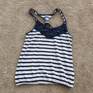 So striped navy and white tank top